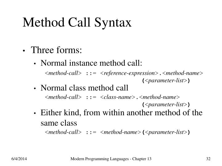 Method Call Syntax
