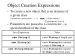 object creation expressions