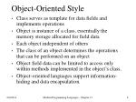 object oriented style