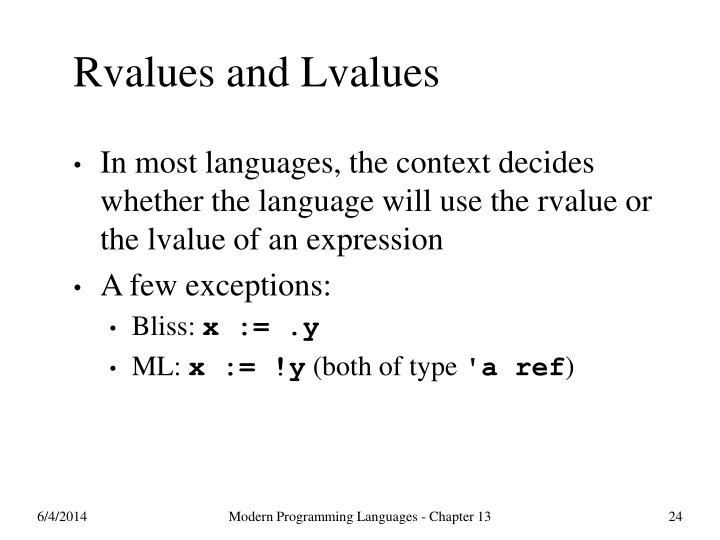 Rvalues and Lvalues