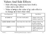 values and side effects